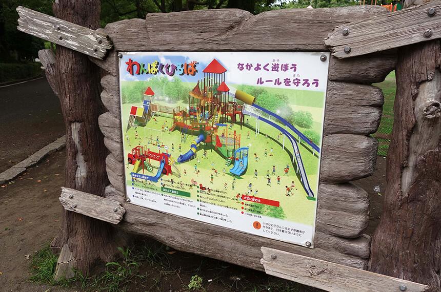 平塚総合公園のわんぱく広場案内板
