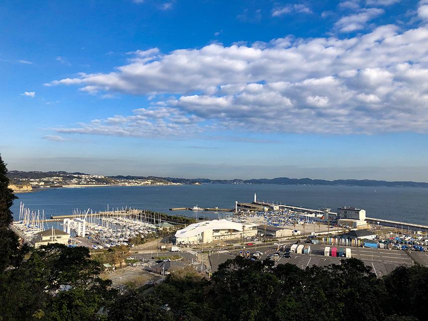 ウッドデッキから眺めた江ノ島ヨットハーバー
