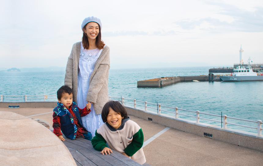 子どもとママで撮影した冬の江の島