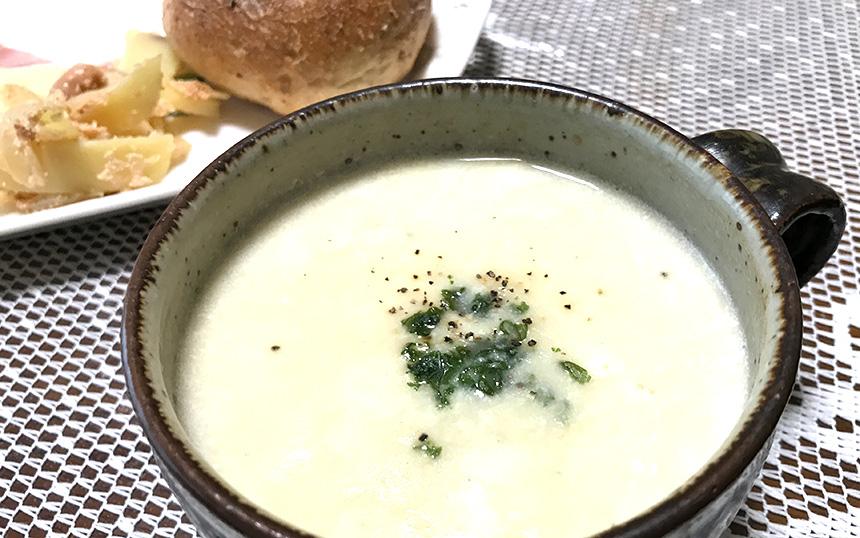収穫したじゃがいもで作ったポタージュスープ