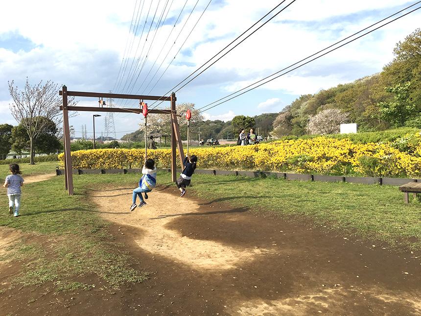 引地川親水公園のターザンロープで遊ぶ子ども