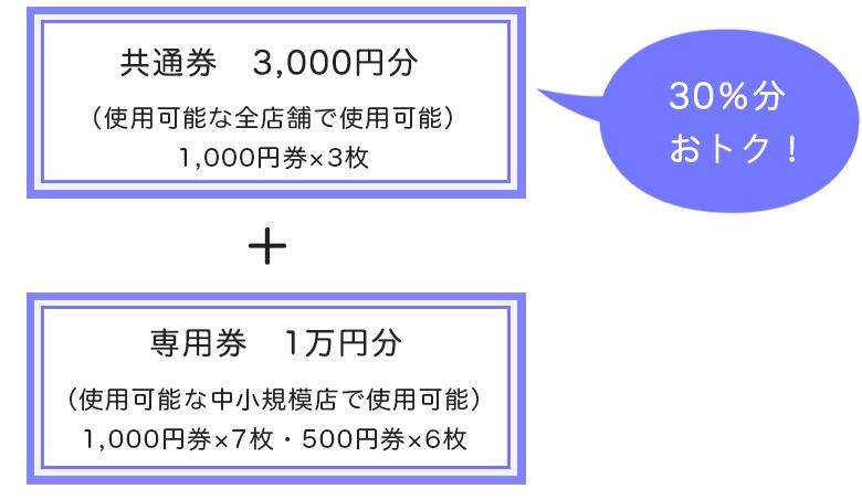 共通券3,000円分と専用券1万円分
