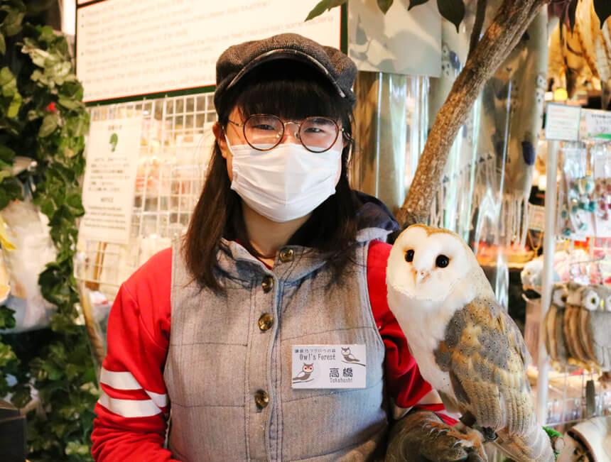 鎌倉『鎌倉乃フクロウの森』のフクロウと店長