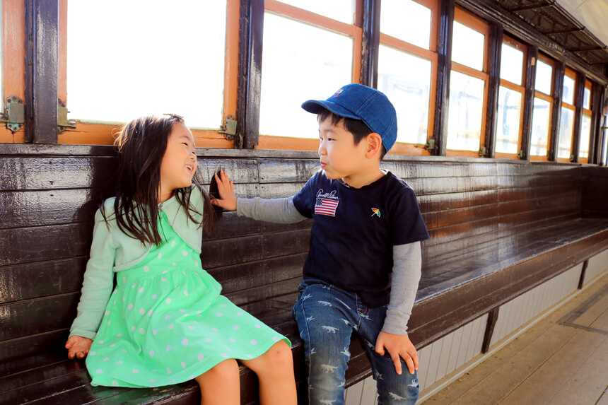 鎌倉海浜公園の江ノ電車両