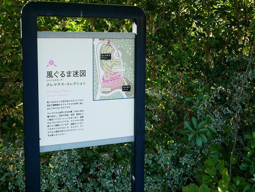 湘南・平塚の植物園『花菜ガーデン』の風ぐるま迷図案内板