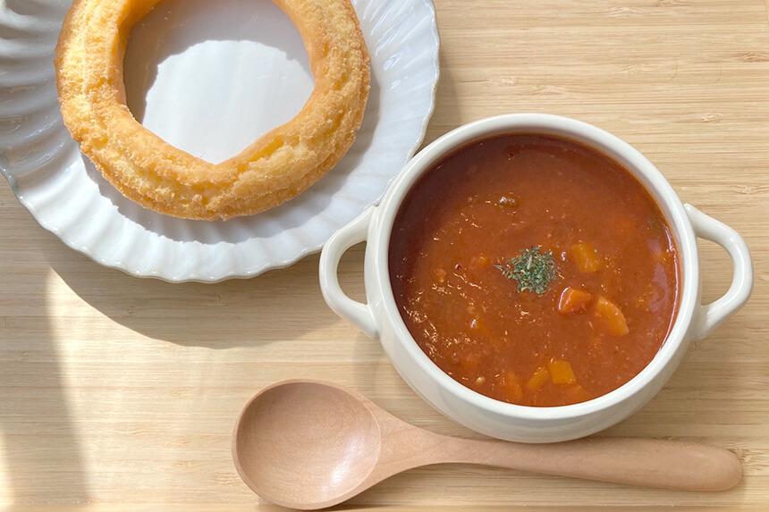 『ミサキドーナツ』のスープとドーナツセット