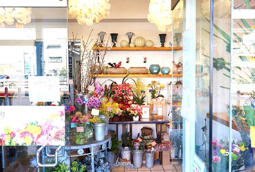 藤沢のお花屋さん「FLORAL WIND'S(フローラルウインズ)」の入り口
