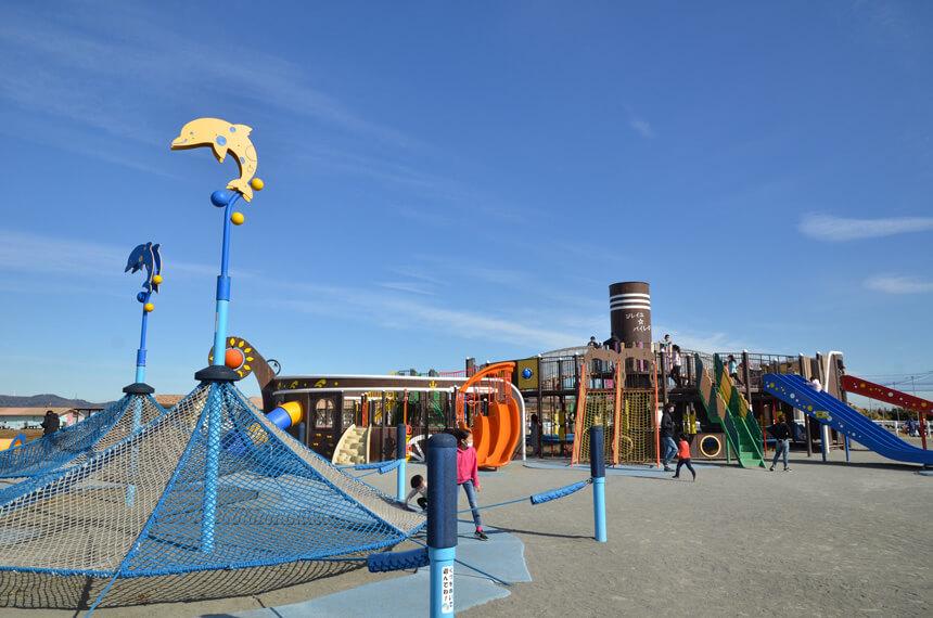 『長井海の手公園 ソレイユの丘』の子ども向け遊び場