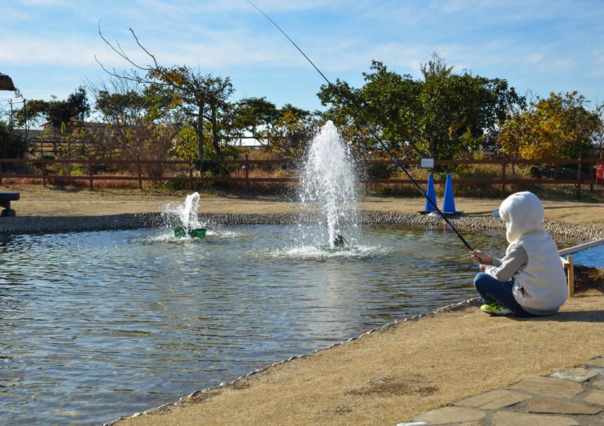 『長井海の手公園 ソレイユの丘』のニジマス釣り