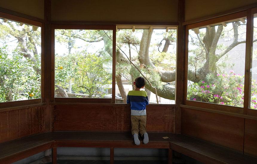 葉山しおさい公園の六角堂で座る子ども