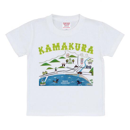 パシフィックオーシャンブルーのTシャツ「鎌倉マップ寛多ver」