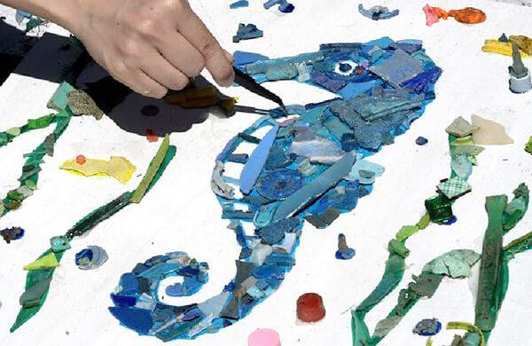 ビーチクリーン体験後に遊べるアート作り