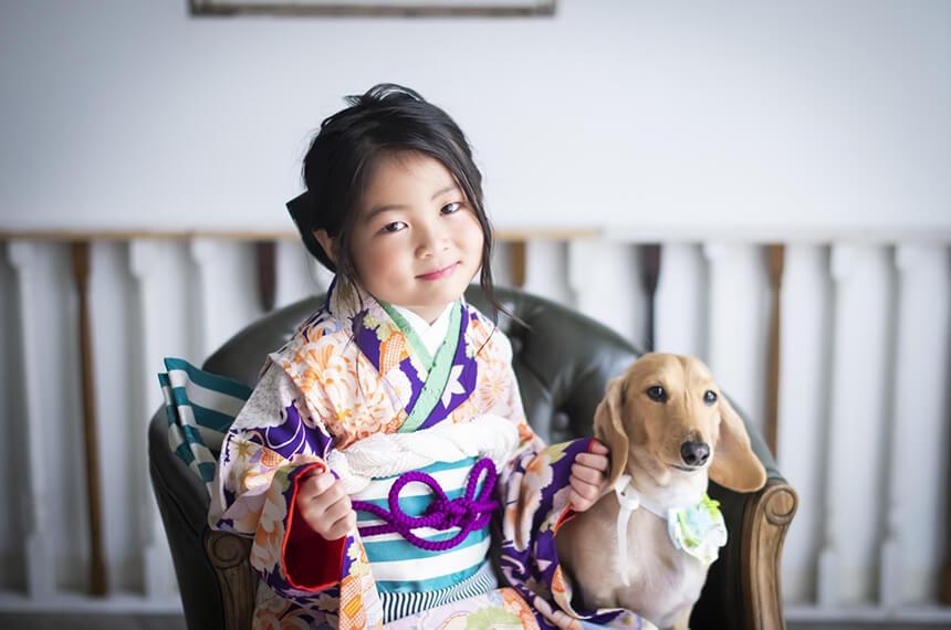 犬と一緒に七五三撮影をする女の子